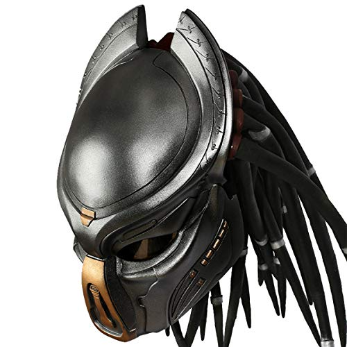 Mesky EU Disfraz Predator Máscara Helmet Con LED/Peluca Resina Suave Prop Cosplay Costume Accesorio Halloween Carnaval para Hombre(33 * 20 * 28cm)