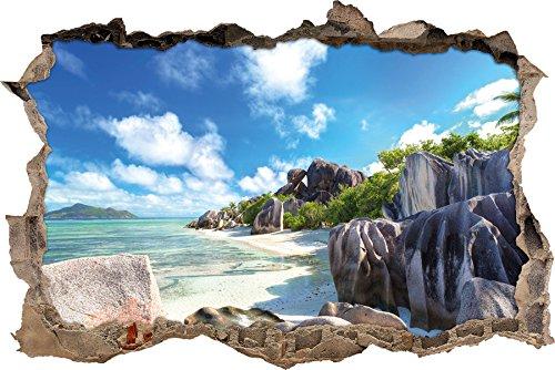 Seychellen Strand Wanddurchbruch im 3D-Look, Wand- oder Türaufkleber Format: 62x42cm, Wandsticker, Wandtattoo, Wanddekoration