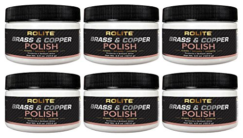 Rolite Brass and Copper Polish - Instant Polishing and Tarnish Removal Cream, Metal Cleaner and Brightener for Antiques, Cookware, Jewelry, and More, 4.5 Ounce, Pack of 6