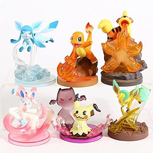 6 Unids / Set Figuras De Anime Pokemon Gallery Glaceon Leafeon Sylveon Mimikyu Charmander Growlithe Figuras De Acción PVC Figura En Caja Figura 10Cm