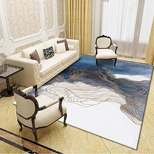 La alfombras Mesa recibidor Suave Alfombra Azul Amarilla de diseño de Tinta...