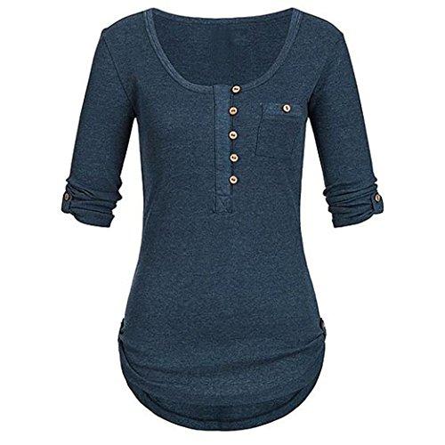 IMJONO Damen Langarmshirt Sweatshirt Pullover Arten von Mode-Stile optional(EU-42/CN-2XL,Marine)