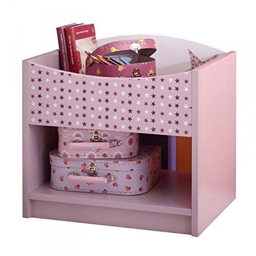 Nachtkommode Sternchen lila / weiß MDF + Melaminharz Nachttisch Nachtkonsole Nachtschrank Nachtkästchen Mädchen Kinderzimmer