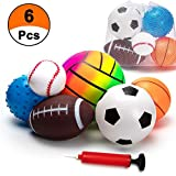 BACIVIC 6 Pcs Inflatable Sport Balls Set with Pump for Toddler, Includes Football, Basketball, Volleyball,...