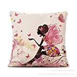 Blumen-Fee Leinenkissen Sofakissen modernen chinesischen Stil Druckkissen Kissen Mittagspause Kissen...