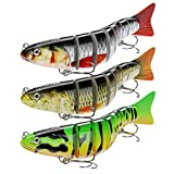 INNOTAK Segmented Fishing Lure Swimbait - Multi Jointed Lures for Bass Smasher Bluegill Trout - Three Segmented Hard Baits in 1 Kit with 3 Fishing Leaders - Multijointed Slow Sinking Swimbaits