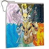 Cortina de ducha Pokemon para baño con ganchos, 66 x 72 pulgadas, impermeable de poliéster, lavable a máquina, calidad del hotel