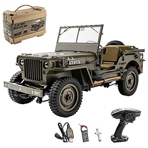 RocHobby 2.4GHZリモートコントロールカー-1:12スケール1941MBスケーラーRTR-全地形対応車RCカー-4WD4x4大人用オフロード陸軍トラック車両、バッテリーと充電器付き