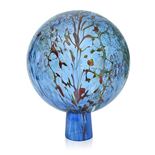 Lauschaer Glas Gartenkugel Rosenkugel aus Glas mit Granulat aquablau d 15cm mundgeblasen handgeformt