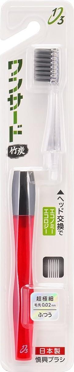 周辺自分のために拡大する歯ブラシ 竹炭 本体セット スリム 超極細 ふつう クリアレッド 1本