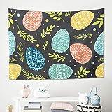 Gamoii - Tapiz de Pared Multicolor con diseño de Huevo de Pascua, poliéster, Blanco, 150 x 130 cm