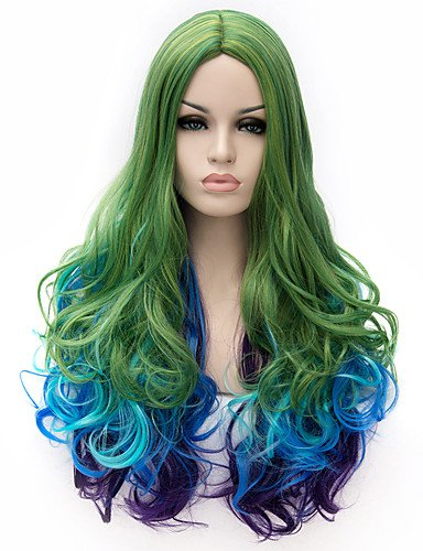 jiayy perruque cosplay de l'Europe et Amérique du tricolore ton bleu, violet, vert cosplay hradient Poil Frisé, Green