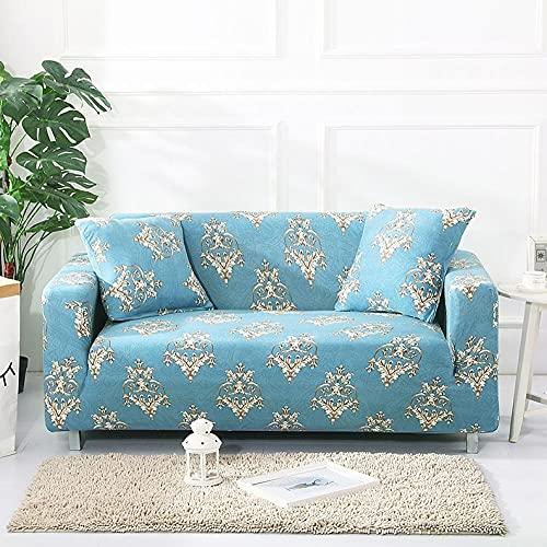Funda Sofas 2 y 3 Plazas Patrón Retro Azul Fundas para Sofa con Diseño Elegante Universal,Cubre Sofa Ajustables,Fundas Sofa Elasticas,Funda de Sofa Chaise Longue,Protector Cubierta para Sofá