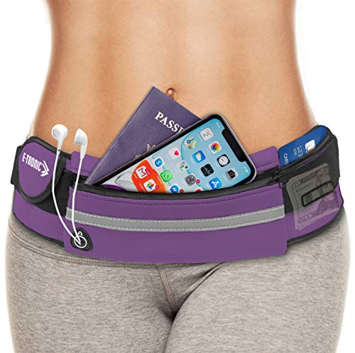 E Tronic Edge Waist Packs: Best Comfortable Unisex Running Belts That Fit All Waist Sizes & All Phone Models for Running, Workouts, Cycling, Travelling Money Belt & More, Purple