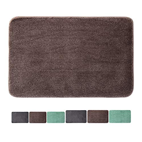 "Microfiber Floor Rug Non-Slip Mats Stronger Water Absorption Machine Washable Doormats for Indoor Hotel by Bathtub Bedroom Washing Table Living Room Outside Bathroom (28""x18"", Brown)"