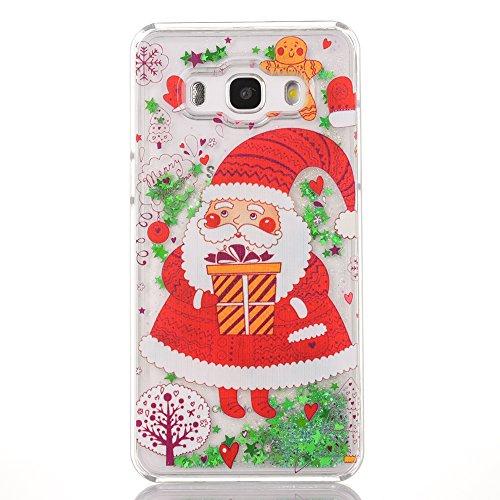 FroFine Cover Samsung Galaxy J5 2016, Natale Custodia Samsung Galaxy J5 2016 3D Glitter Liquido Trasparente Sabbia Mobili, Bumper per Samsung Galaxy J510 Protettiva Custodia Cover - Babbo Natale