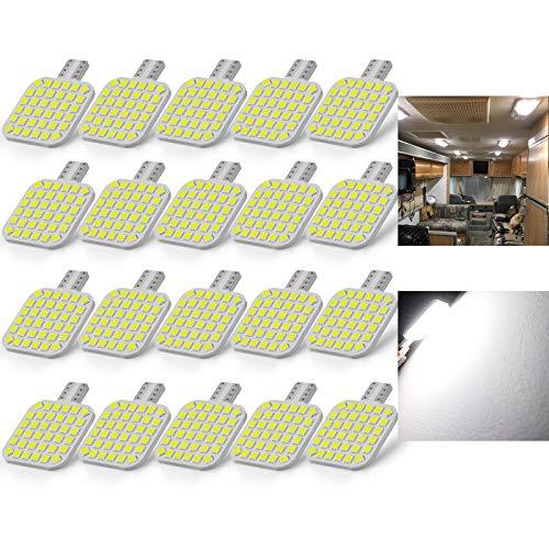 BRISHINE 20PCS 921 Interior LED Light Bulbs for RV, Super Bright 36-SMD 4500K Natural White T10 922...