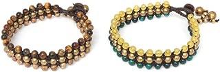 Multi-Gems Tigers Eye Coconut Shell Beaded Bracelet, 7.5