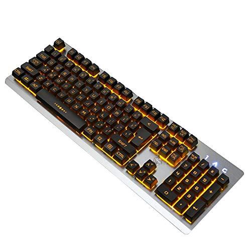 Volwco Gaming-Tastatur, Regenbogen-Hintergrundbeleuchtung, USB-Tastatur, Aluminium-Metall-Panel und wasserfestes Design für Windows PC Gamer Desktop, Computer