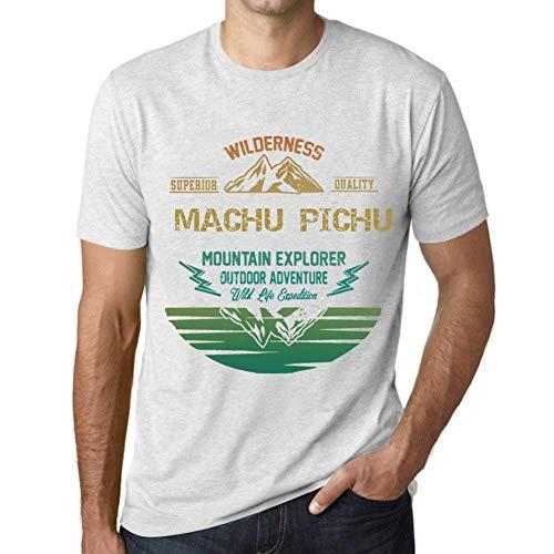 Herren Tee Männer Vintage T-Shirt Mountain Explorer Machu Pichu Weiß Gesprenkelt