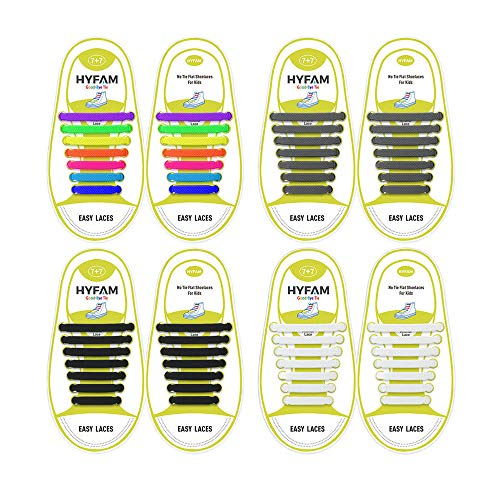 Hyfam No Tie Shoelaces for Kids, Waterproof Silicone Tieless Flat Elastic Shoe Laces for Sneaker Boots Board Shoes and Casual Shoes