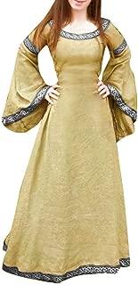 Women Renaissance Medieval Gothic Victorian Halloween Costume Cosplay Dress Long Sleeve Round Neck Slim