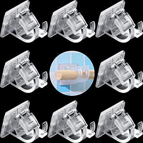 Self-Adhesive Curtain Rod Bracket Drapery Hook Holders no Nail Fixing Rod Holder Curtain Pole Wall Brackets No Screw Towel Rod Hooks for Home Bathroom and Hotel Use (8 Pieces)