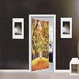 Etiqueta engomada de la puerta de otoño pegatinas de puerta de hoja caduca dormitorio decoración de la habitación de los niños impermeable autoadhesivo extraíble pegatinas de pared papel tapiz