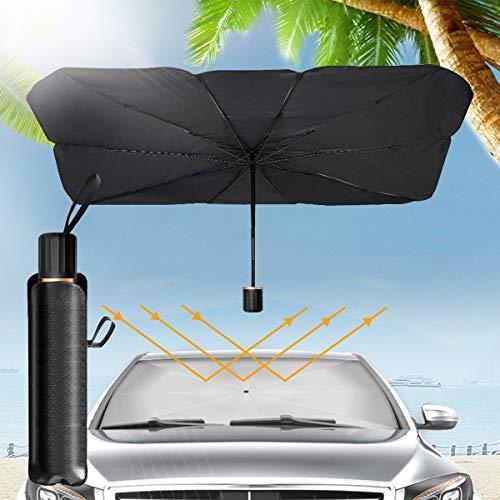 Sombrilla Paraguas del Coche, Parasol Sombrilla per Coche Lunas Delanteras, Plegable Parasol Coche Delantero Protector con Anti UV Rayos, Sombrilla Paraguas Multiuso Apto la Mayoría de Coches y Suvs