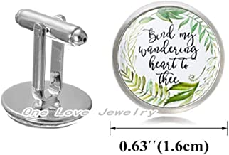 Bind My Wandering Heart to Thee Green Leaf Floral Charm Cufflinks Bible Verse Jewelry Fashion Gift for Christian Women Men,TAP199