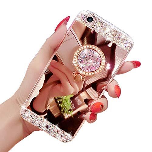 Glitzer Spiegel Hülle für Samsung Galaxy S7 Edge, Obesky Diamant Strass Plating TPU Silikon Handyhülle mit Ring Kickstand Schutzhülle für Samsung Galaxy S7 Edge, Roségold