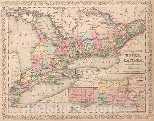 Historic Map : World Atlas Map, Canada West : Formerly Upper Canada. Published by Charles Desilver.4 1859 - Vintage Wall Art - 56in x 44in