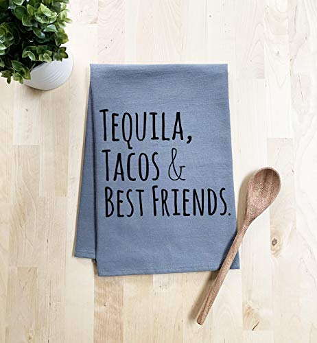 Funny Dishcloth/Tea Towel ~ Tequila, Tacos, Best Friends ~ Funny Kitchen Cloth ~ Gray (Black Ink)