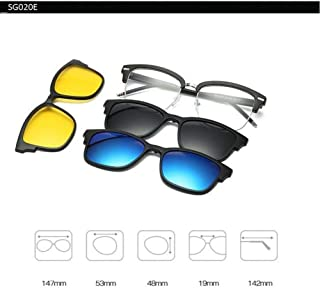 LKOMVR Polarized Sunglasses Set With 3Pcs Magnetic Clips Tr Frame Clip On Glasses Magnet Casual Optical Myopia Eyewear