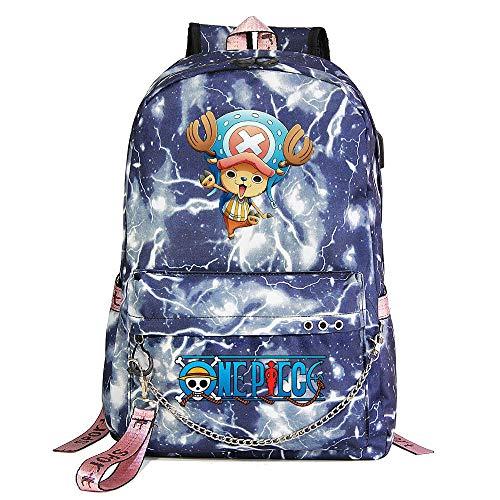 Xcmlz Tony One Piece Mochila Mochilas Escolares Bolsas De Viaje Cadena para Computadora Portátil Auriculares Puerto USB 1