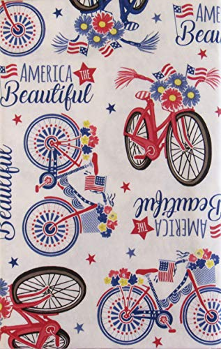 America the Beautiful Patriotic Bicycles Vinyl Flannel Back Tablecloth (52' x 70' Oblong)