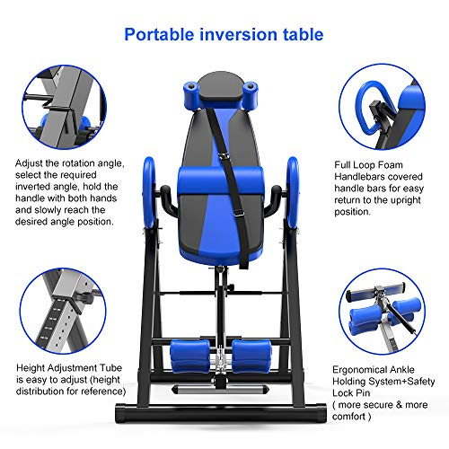 YOLEO Gravity Heavy Duty Inversion Table with Adjustable Headrest & Protective Belt Back Stretcher Machine for Pain Relief Therapy (Blue)