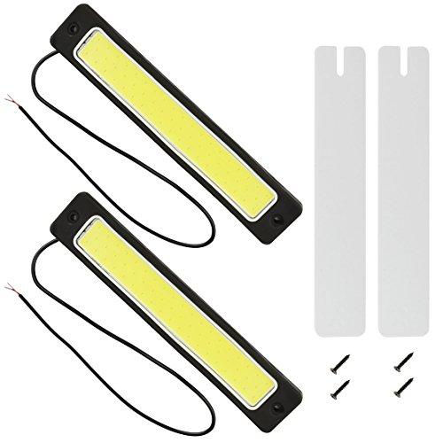 Safego 2Pcs/Set DRL LED COB Daytime Running Light Ampoule de Barre Lumineuse Feux de Jour Blanc Pour Voiture 16W 6000K DC 12V