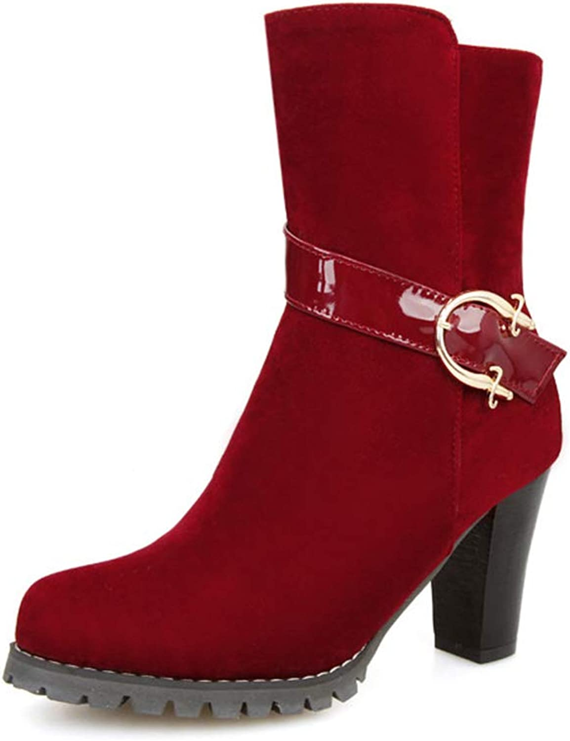 Women's Booties, Fall Winter New Thick Heel High Heel Suede Fashion Boots Ladies Mid Heel Ankle Boots (color   A, Size   39)