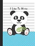 I Like To Write: Double Line Notebook For Kids - Blue Boy Panda