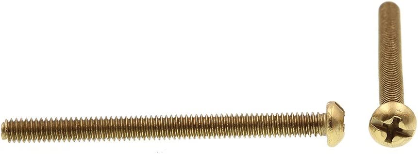Prime-Line 9003894 Machine Screw Round Head 8-32 X 2 in Pack of 100 Solid Brass Slotted//Phillips Combo