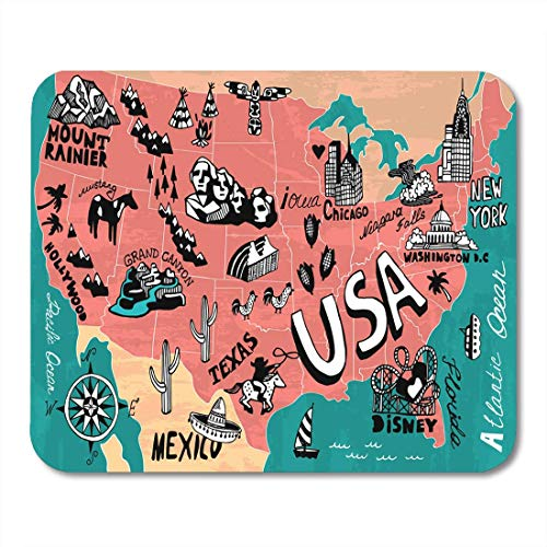 Muismat Blue Road Map van de USA Trip Travel Canyon Grand Mousepad voor notebooks, desktops computer muismatten