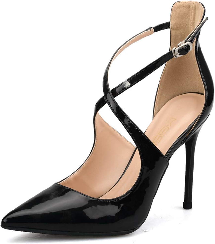 Women's Large Size High Heel Sandals 10cm Patent Leather Gum Rubber Sole Stiletto Pumps Ladies Fashion Pointed Toes Ankle-Strap Sandals(32-42EU)