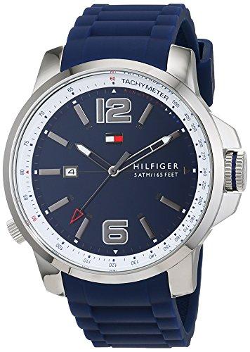 Tommy Hilfiger Herren Datum klassisch Quarz Uhr mit Silikon Armband 1791220
