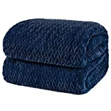 PAVILIA Luxury Flannel Fleece Blanket Throw Twin Navy Blue | Soft Decorative Jacquard Weave Microfiber Throw for Bed Sofa Couch | Velvet Textured Leaves Pattern | Lightweight Plush Cozy Warm | 60'x80'