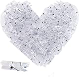 128 Pieces Photo Clips Mini Plastic Clear Clips Clothespins Transparent for String Fairy Lights Color Clear Picture Polaroid Clips