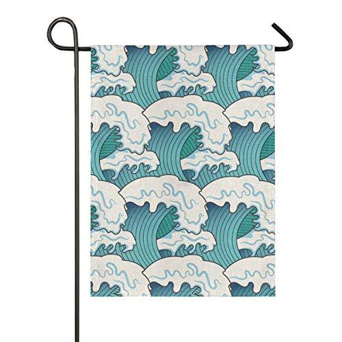 DEZIRO Grote Golven Schilderij Yard Vlag Aangepaste Tuin Vlag Dubbele Zijde 28x40(in) 1 exemplaar