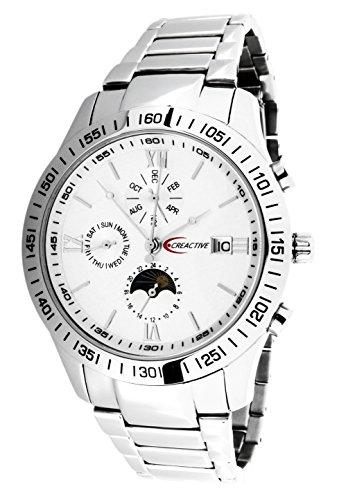 Creactive Automatik Uhr Armbanduhr für Herren Männer mit Edelstahl Armband in Silber Chronograph Automatikuhr Herrenuhr Männeruhr Analog CA120101