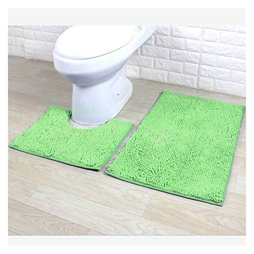 Juego de alfombras de baño de 2 piezas Alfombrilla de baño, plusos de microfibra chenilla alfombrilla de baño, alfombra antiadherente y de ducha absorbente de agua para bañera, ducha y baño lavable Ac