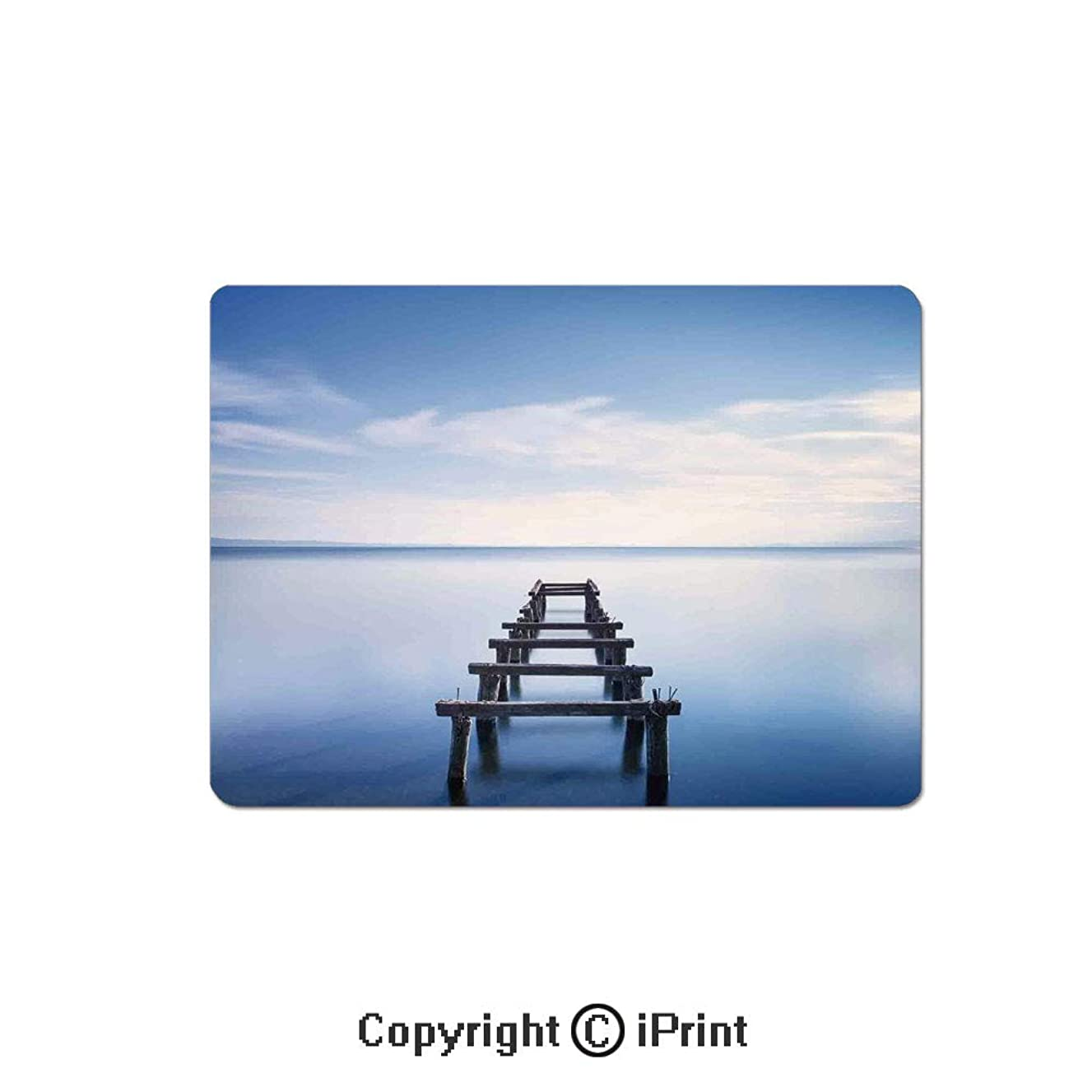 Gaming Mouse Pad Custom,Photo of an Old Jetty in The Lake with Blue Sky Horizon Landscape Calm Nature Print Decorative Mouse Mat,Non-Slip Rubber Base Mousepad,7.9x9.5 inch,Blue White Brown